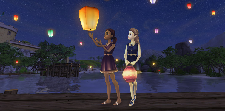 Send off the lanterns with your friends!