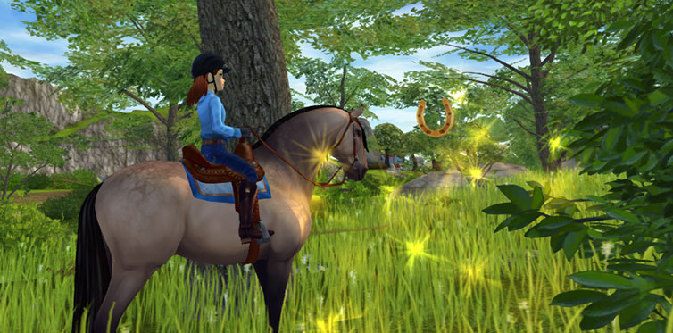 Collect golden horseshoes to get the birthday outfit!
