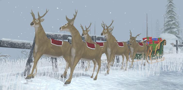 Hitta en släde och prata med nissen för att resa till Vinterbyn!