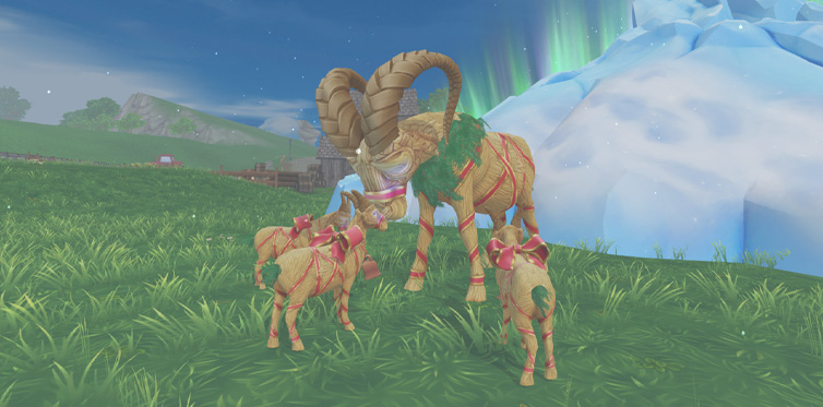Bring the baby goats back to the giant goats to gain Yule Goat Spirits!