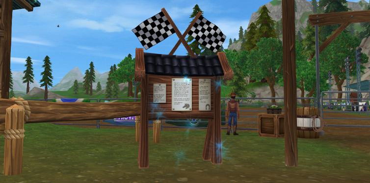 Click on the noticeboard to try the race!