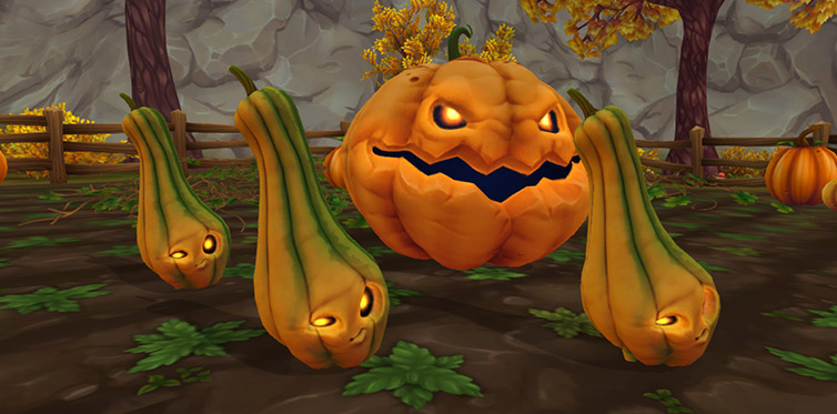 Play with the living pumpkins to earn golden pumpkin tokens!