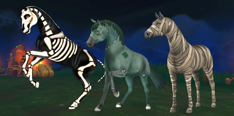 Who wouldn't want to ride on these cool horses for halloween?