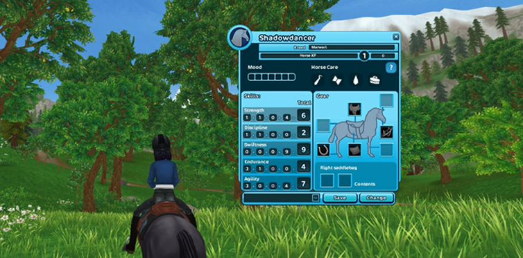 Click the progress bar to view your horses mood and performance