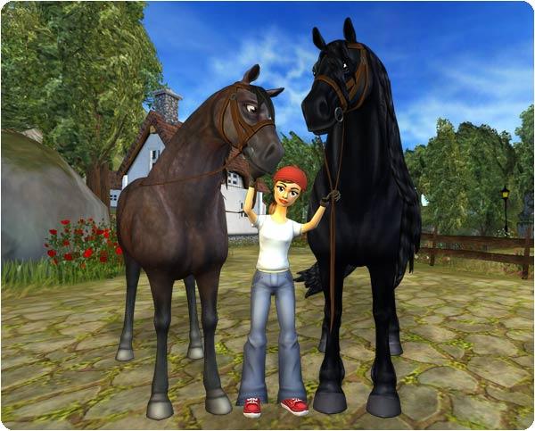 Frieserhästarna är mycket större än de andra hästarna på Jorvik!